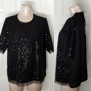 Who What Wear Sequin Women's Top Sz L